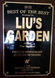 Best of The Best Award Plaque Liu's Garden Restaurant Won for 2013 - Voted The Tastiest Chinese Restaurant